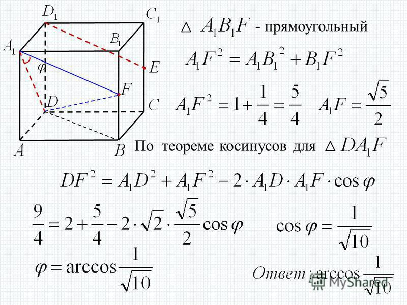 По теореме косинусов для