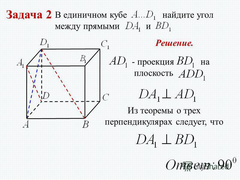Задача 2 В единичном кубе найдите угол между прямыми и - проекция на плоскость Из теоремы о трех перпендикулярах следует, что Решение.