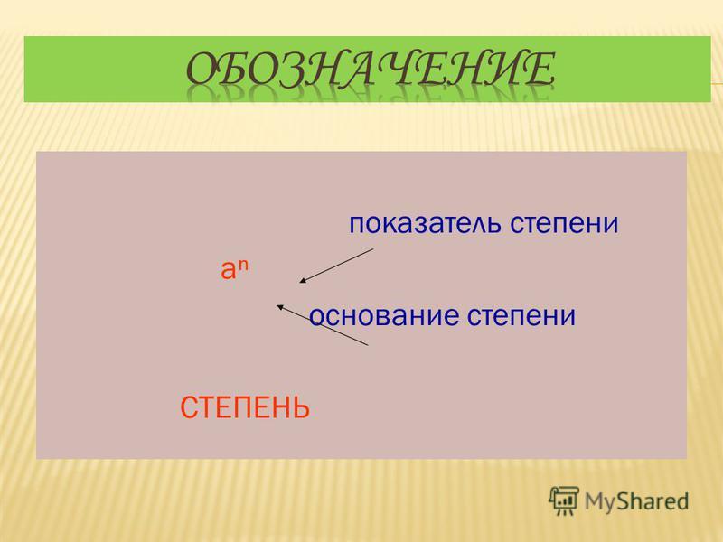 показатель степени а основание степени СТЕПЕНЬ