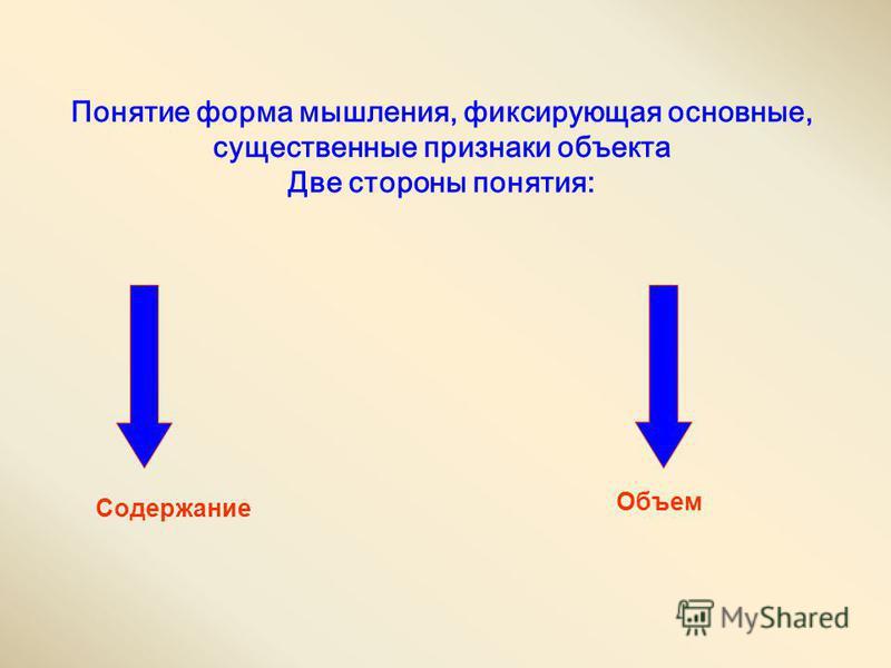 Понятие форма мышления, фиксирующая основные, существенные признаки объекта Две стороны понятия: Содержание Объем