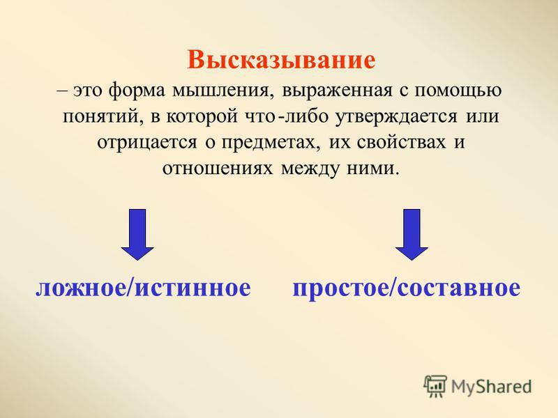 Высказывание –это форма мышления, выраженная с помощью понятий, в которой что-либо утверждается или отрицается о предметах, их свойствах и отношениях между ними. ложное/истинное простое/составное