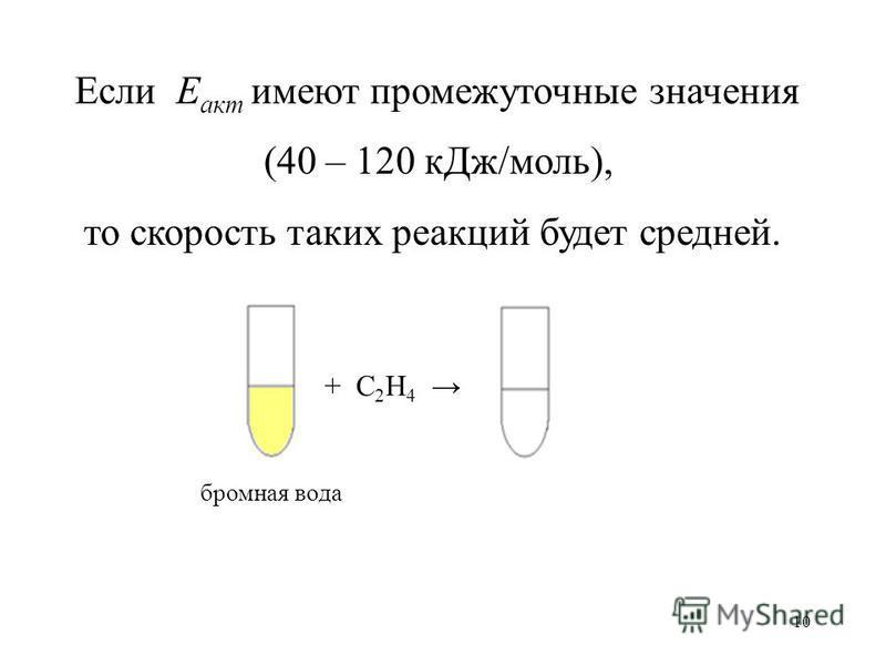 10 Если Е акт имеют промежуточные значения (40 – 120 к Дж/моль), то скорость таких реакций будет средней. бромная вода + С 2 Н 4