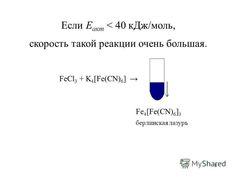 8 Если Е акт < 40 к Дж/моль, скорость такой реакции очень большая. FeCl 3 + K 4 [Fe(CN) 6 ] Fe 4 [Fe(CN) 6 ] 3 берлинская лазурь