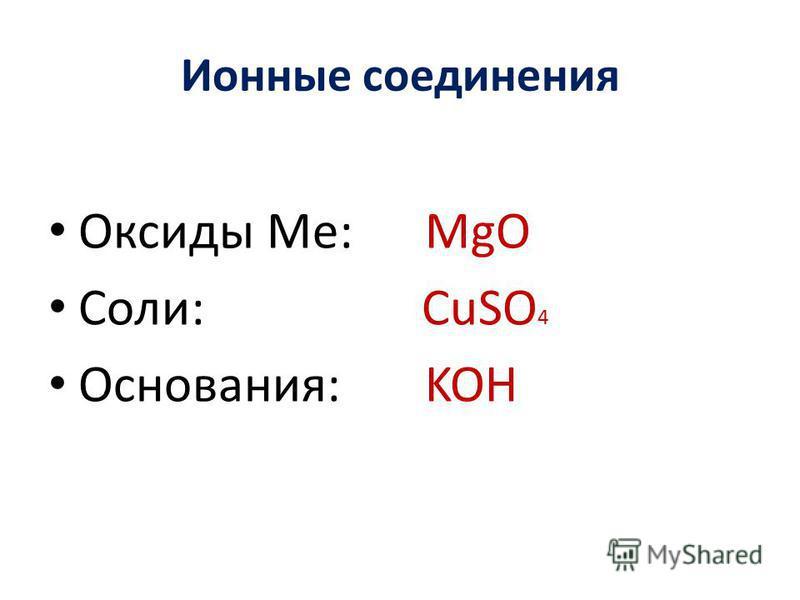 Ионные соединения Оксиды Ме: MgO Соли: СuSO 4 Основания: KOH