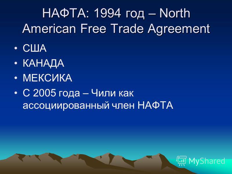 НАФТА: 1994 год – North American Free Trade Agreement США КАНАДА МЕКСИКА С 2005 года – Чили как ассоциированный член НАФТА