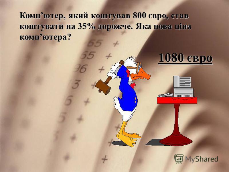 Компютер, який коштував 800 євро, став коштувати на 35% дорожче. Яка нова ціна компютера? 1080 євро
