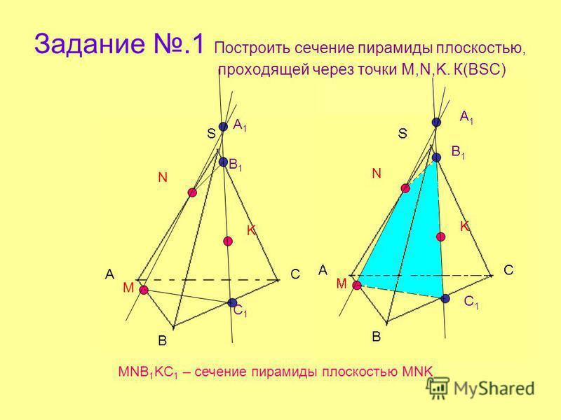Задание.1 Построить сечение пирамиды плоскостью, проходящей через точки M,N,K. К(ВSС) А В С S M N K A1A1 B1B1 C1C1 MNB 1 KC 1 – сечение пирамиды плоскостью MNK