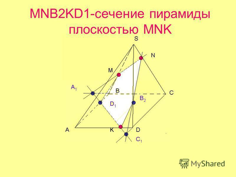 MNB2KD1-сечение пирамиды плоскостью MNK
