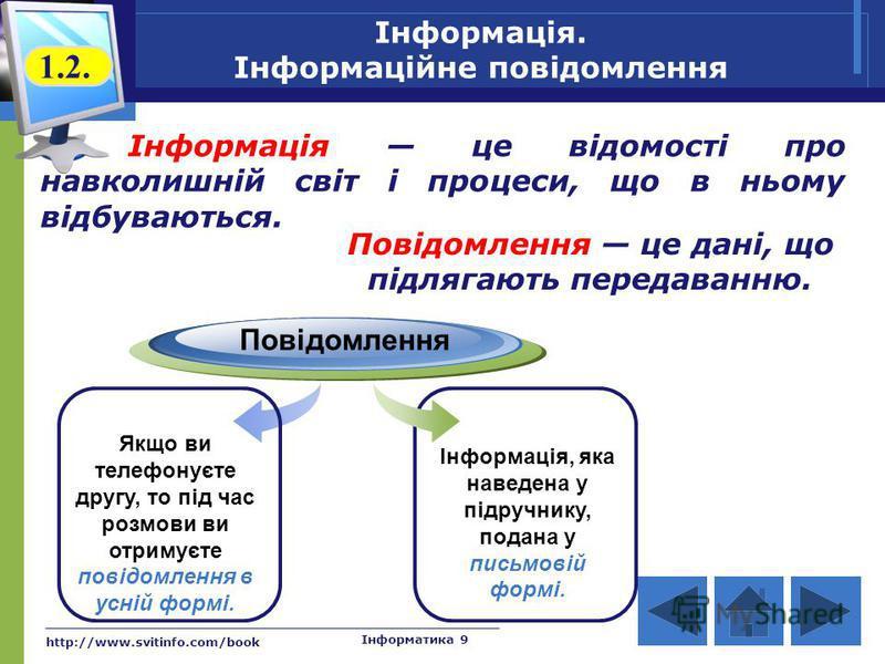 http://www.svitinfo.com/book Інформатика 9 Інформація. Інформаційне повідомлення Інформація це відомості про навколишній світ і процеси, що в ньому відбуваються. Повідомлення Якщо ви телефонуєте другу, то під час розмови ви отримуєте повідомлення в у