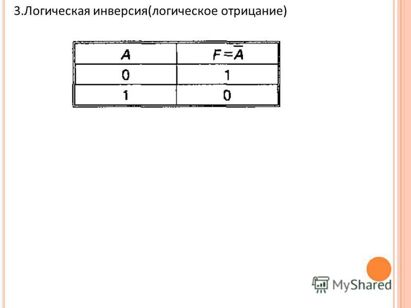 3. Логическая инверсия(логическое отрицание)