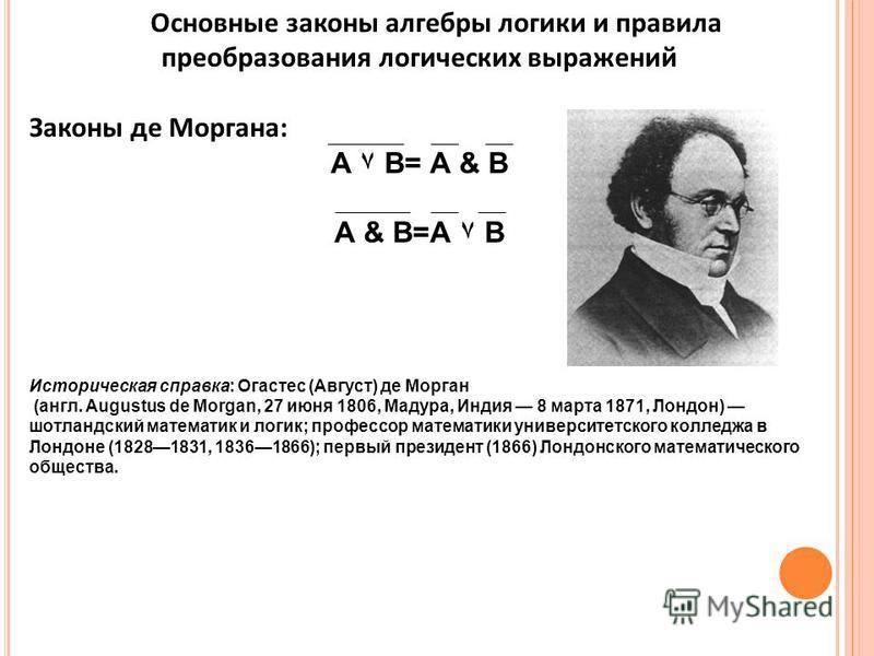 Основные законы алгебры логики и правила преобразования логических выражений Законы де Моргана: А ۷ В= А & В А & В=А ۷ В Историческая справка: Огастес (Август) де Морган (англ. Augustus de Morgan, 27 июня 1806, Мадура, Индия 8 марта 1871, Лондон) шот