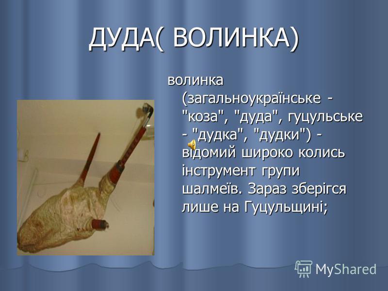ДУДА( ВОЛИНКА) волинка (загальноукраїнське - коза, дуда, гуцульське - дудка, дудки) - відомий широко колись інструмент групи шалмеїв. Зараз зберігся лише на Гуцульщині;