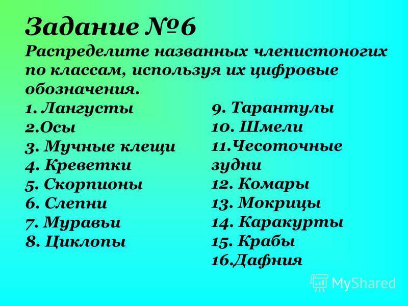 Задание 6 Распределите названных членистоногих по классам, используя их цифровые обозначения. 1. Лангусты 2. Осы 3. Мучные клещи 4. Креветки 5. Скорпионы 6. Слепни 7. Муравьи 8. Циклопы 9. Тарантулы 10. Шмели 11. Чесоточные зудни 12. Комары 13. Мокри