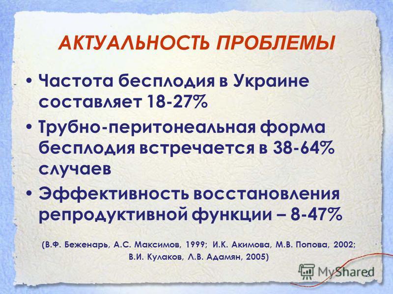 2 АКТУАЛЬНОСТЬ ПРОБЛЕМЫ Частота бесплодия в Украине составляет 18-27% Трубно-перитонеальная форма бесплодия встречается в 38-64% случаев Эффективность восстановления репродуктивной функции – 8-4 7 % (В.Ф. Беженарь, А.С. Максимов, 1999; И.К. Акимова,