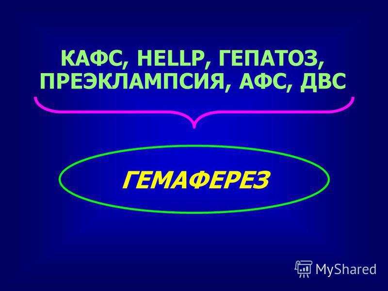 КАФС, HELLP, ГЕПАТОЗ, ПРЕЭКЛАМПСИЯ, АФС, ДВС ГЕМАФЕРЕЗ
