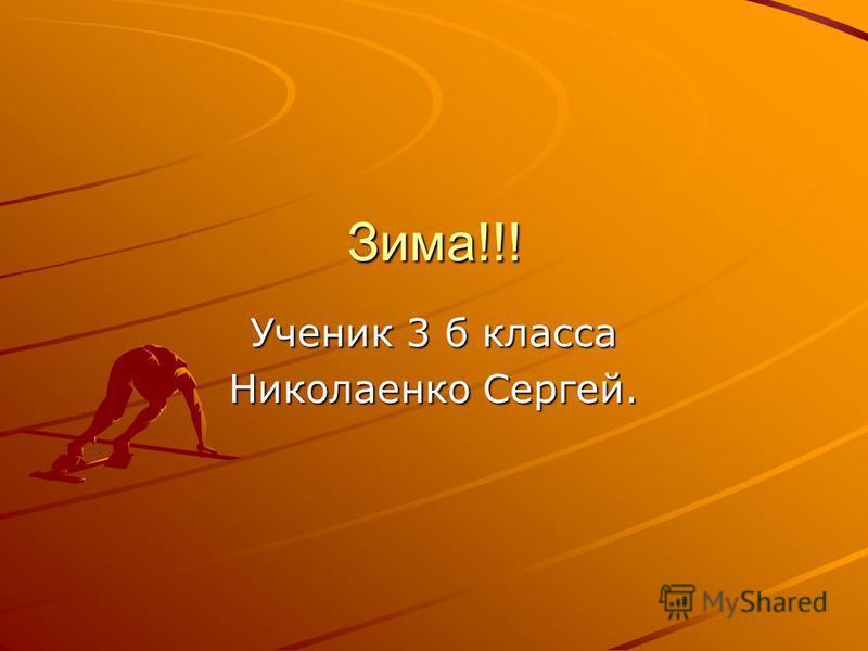 Зима!!! Ученик 3 б класса Николаенко Сергей.