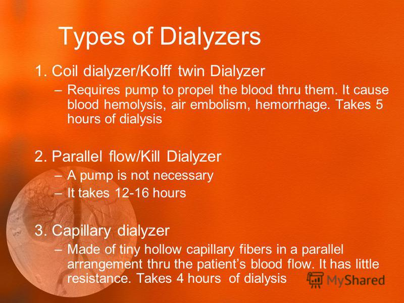 Types of Dialyzers 1. Coil dialyzer/Kolff twin Dialyzer –Requires pump to propel the blood thru them. It cause blood hemolysis, air embolism, hemorrhage. Takes 5 hours of dialysis 2. Parallel flow/Kill Dialyzer –A pump is not necessary –It takes 12-1