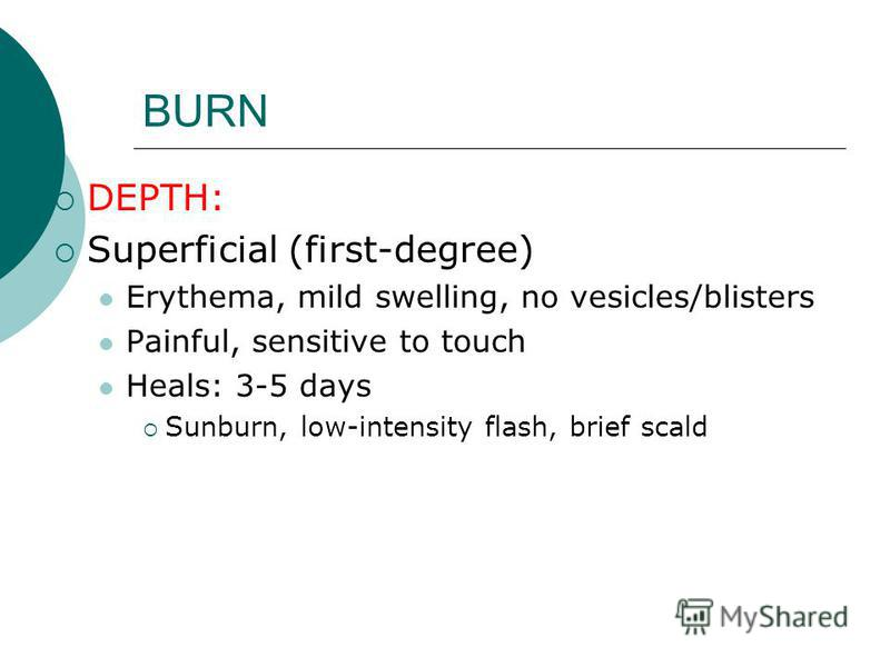 BURN DEPTH: Superficial (first-degree) Erythema, mild swelling, no vesicles/blisters Painful, sensitive to touch Heals: 3-5 days Sunburn, low-intensity flash, brief scald
