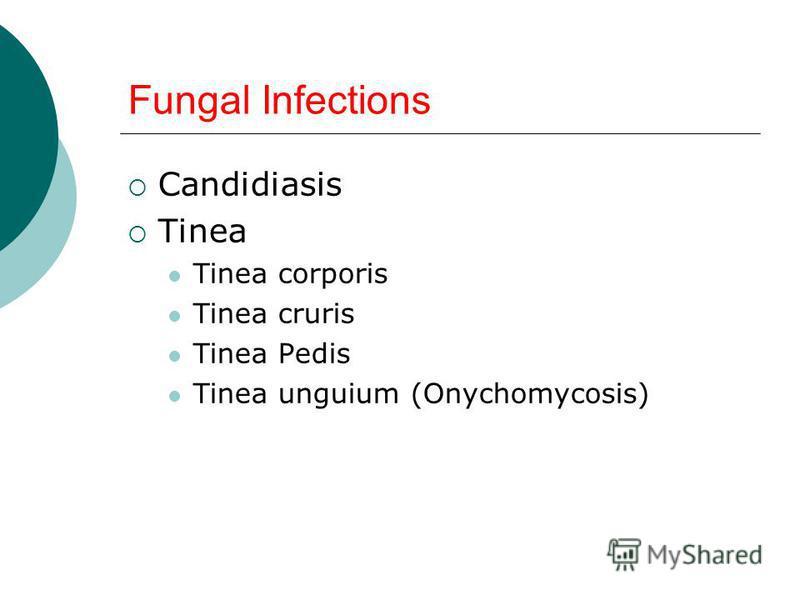 Fungal Infections Candidiasis Tinea Tinea corporis Tinea cruris Tinea Pedis Tinea unguium (Onychomycosis)