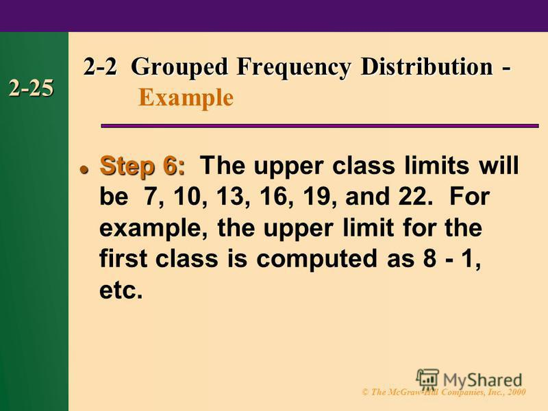 © The McGraw-Hill Companies, Inc., 2000 2-25 Step 6: Step 6: The upper class limits will be 7, 10, 13, 16, 19, and 22. For example, the upper limit for the first class is computed as 8 - 1, etc. 2-2 Grouped Frequency Distribution - 2-2 Grouped Freque