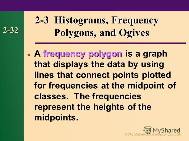 © The McGraw-Hill Companies, Inc., 2000 2-32 frequency polygon A frequency polygon is a graph that displays the data by using lines that connect points plotted for frequencies at the midpoint of classes. The frequencies represent the heights of the m