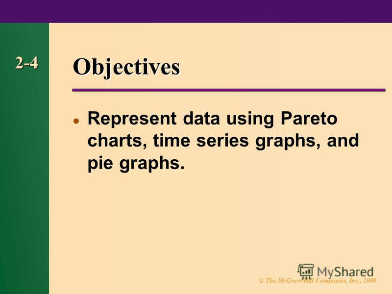 © The McGraw-Hill Companies, Inc., 2000 2-4 Objectives Represent data using Pareto charts, time series graphs, and pie graphs.
