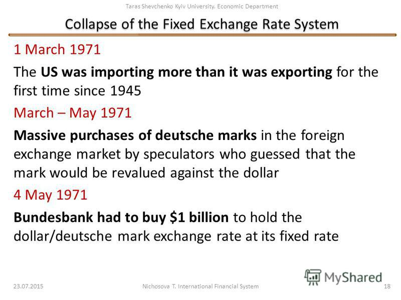 Taras Shevchenko Kyiv University. Economic Department Collapse of the Fixed Exchange Rate System 1 March 1971 The US was importing more than it was exporting for the first time since 1945 March – May 1971 Massive purchases of deutsche marks in the fo
