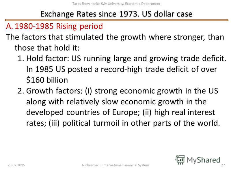 Taras Shevchenko Kyiv University. Economic Department Exchange Rates since 1973. US dollar case 23.07.2015 Nichosova T. International Financial System 27 A.1980-1985 Rising period The factors that stimulated the growth where stronger, than those that