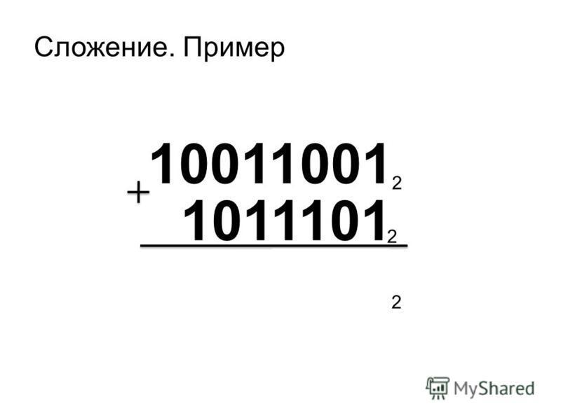 Сложение. Пример 10011001 1011101 2 2 11110110 2