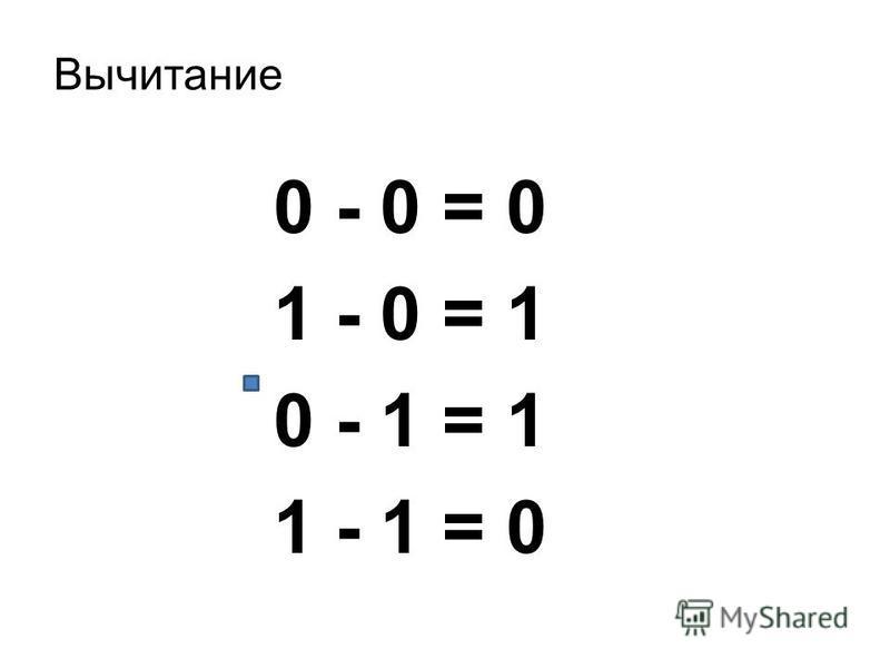 Вычитание 0 - 0 = 0 1 - 0 = 1 0 - 1 = 1 1 - 1 = 0