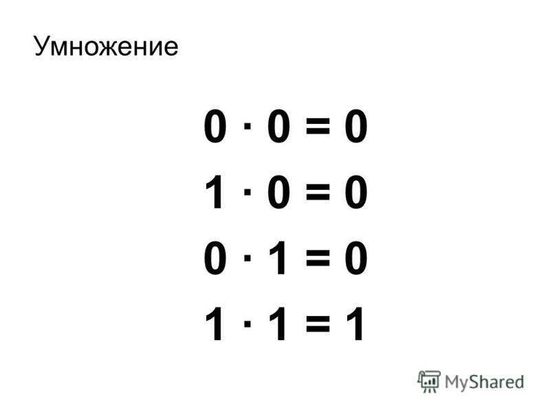 Умножение 0 · 0 = 0 1 · 0 = 0 0 · 1 = 0 1 · 1 = 1