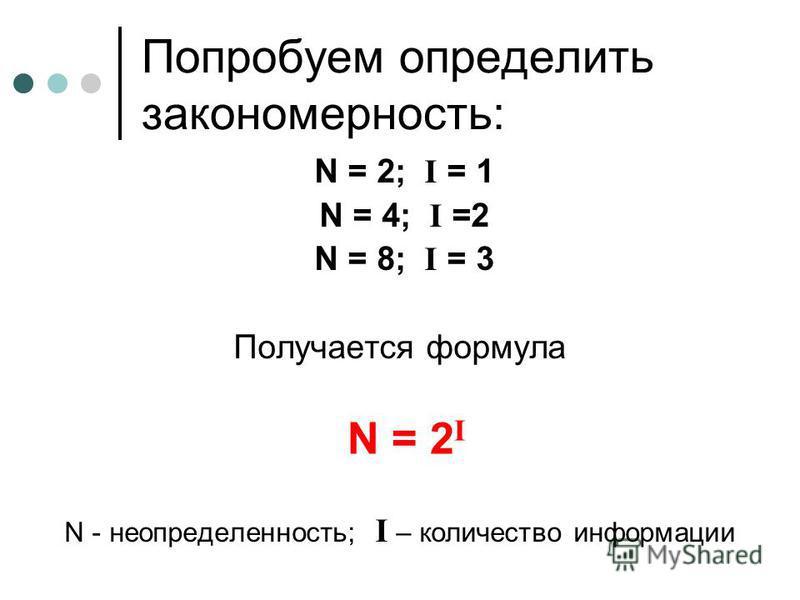 Попробуем определить закономерность: N = 2; I = 1 N = 4; I =2 N = 8; I = 3 Получается формула N - неопределенность; I – количество информации N = 2 I