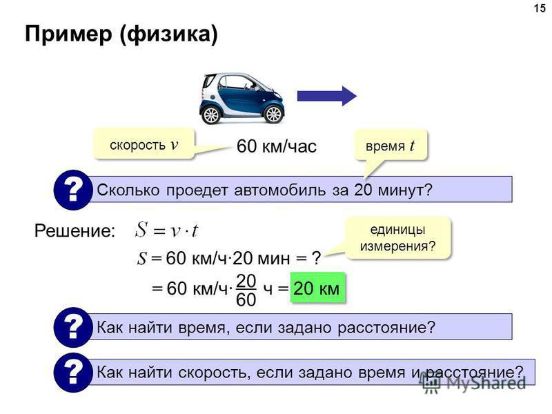 Пример (физика) 15 60 км/час Сколько проедет автомобиль за 20 минут? ? Решение: время t скорость v S = 60 км/ч·20 мин = ? единицы измерения? = 60 км/ч· ч = 20 км 20 60 Как найти время, если задано расстояние? ? Как найти скорость, если задано время и