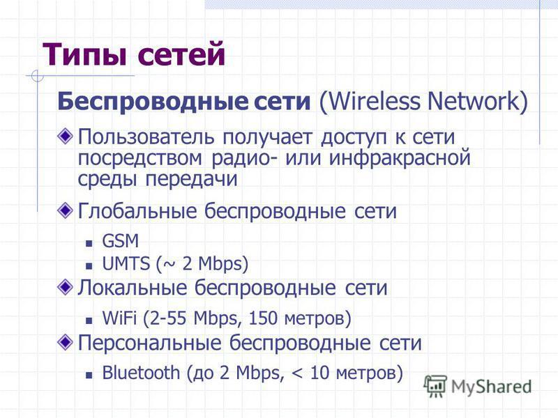 Типы сетей Беспроводные сети (Wireless Network) Пользователь получает доступ к сети посредством радио- или инфракрасной среды передачи Глобальные беспроводные сети GSM UMTS (~ 2 Mbps) Локальные беспроводные сети WiFi (2-55 Mbps, 150 метров) Персональ