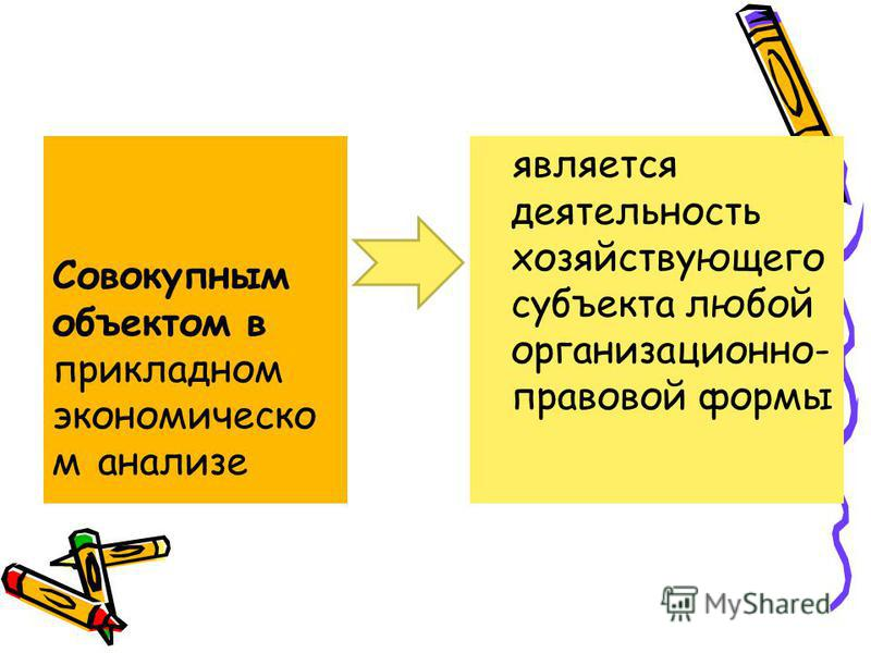 является деятельность хозяйствующего субъекта любой организационно- правовой формы Совокупным объектом в прикладном экономическом анализе