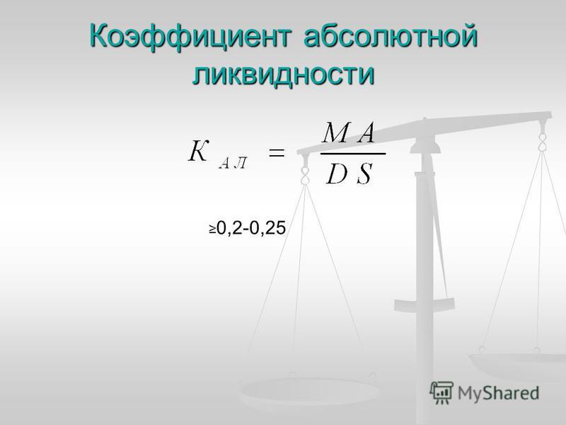 Коэффициент абсолютной ликвидности 0,2-0,25