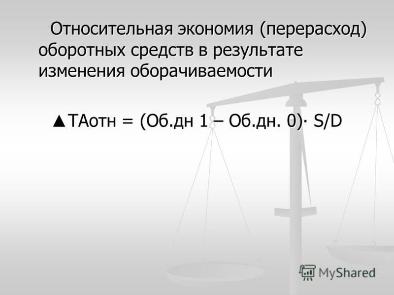Относительная экономия (перерасход) оборотных средств в результате изменения оборачиваемости TAотн = (Об.дн 1 – Об.дн. 0) S/D TAотн = (Об.дн 1 – Об.дн. 0) S/D