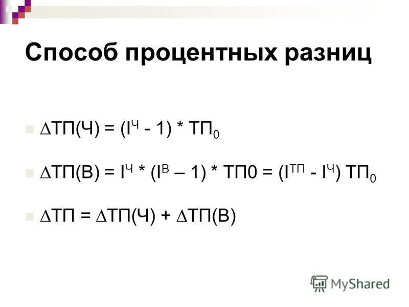 Способ процентных разниц ТП(Ч) = (I Ч - 1) * ТП 0 ТП(В) = I Ч * (I В – 1) * ТП0 = (I ТП - I Ч ) ТП 0 ТП = ТП(Ч) + ТП(В)