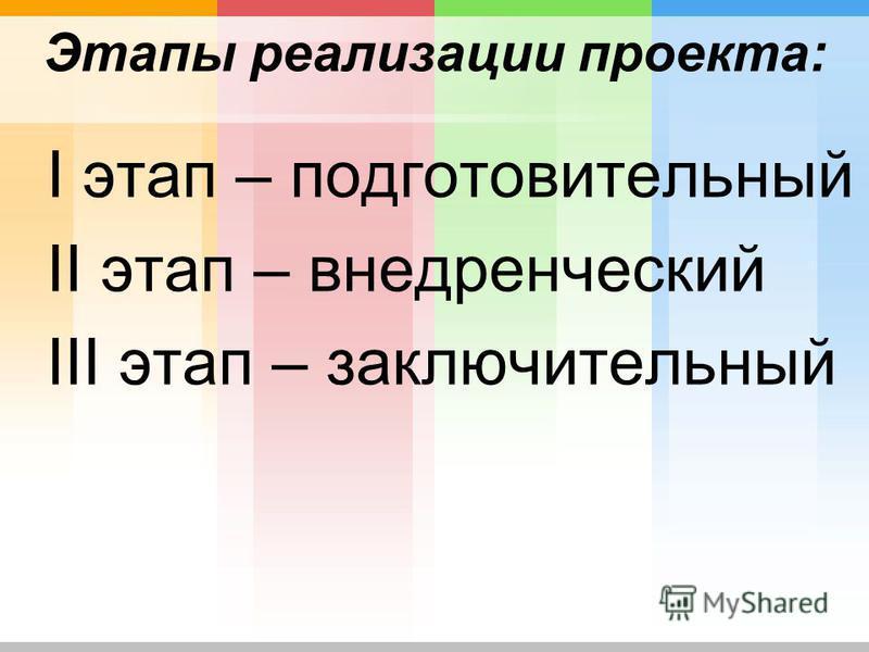 Этапы реализации проекта: I этап – подготовительный II этап – внедренческий III этап – заключительный