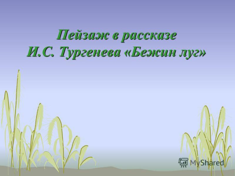 Пейзаж в рассказе И.С. Тургенева «Бежин луг»