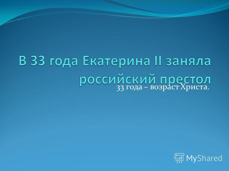 33 года – возраст Христа.