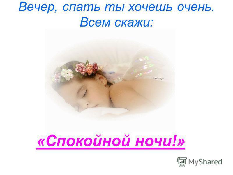 Вечер, спать ты хочешь очень. Всем скажи: «Спокойной ночи!»