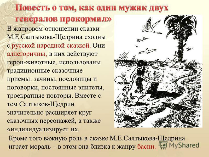 В жанровом отношении сказки М.Е.Салтыкова-Щедрина сходны с русской народной сказкой. Они аллегоричны, в них действуют герои-животные, использованы традиционные сказочные приемы: зачины, пословицы и поговорки, постоянные эпитеты, троекратные повторы.