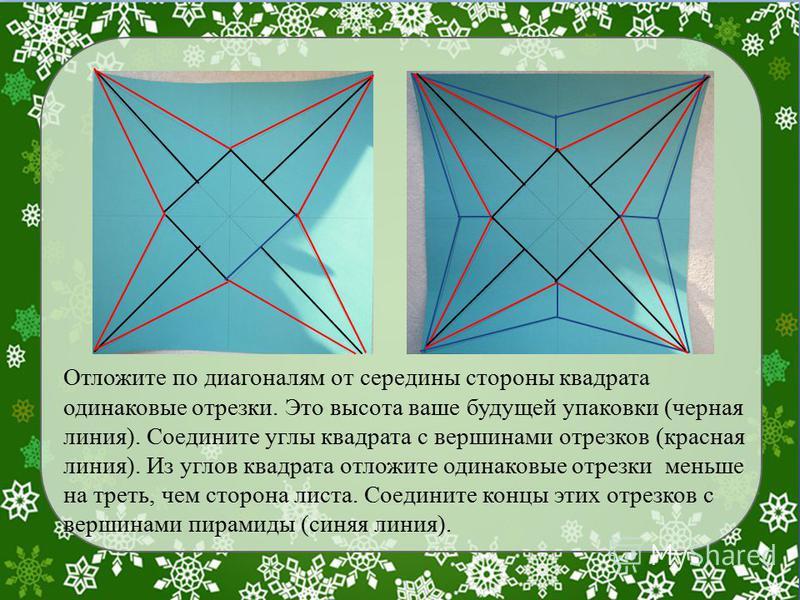 Отложите по диагоналям от середины стороны квадрата одинаковые отрезки. Это высота ваше будущей упаковки (черная линия). Соедините углы квадрата с вершинами отрезков (красная линия). Из углов квадрата отложите одинаковые отрезки меньше на треть, чем