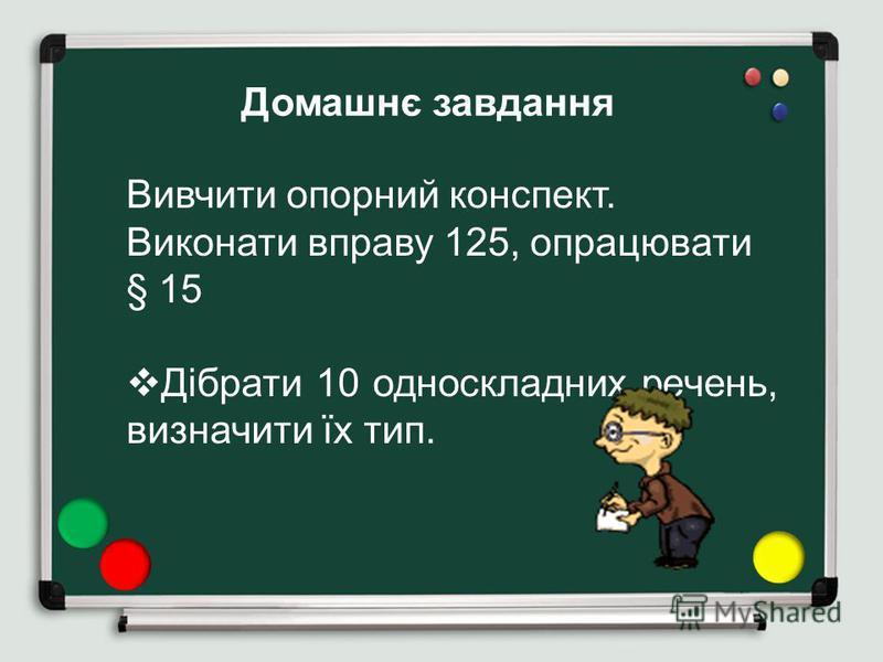 Вивчити опорний конспект. Виконати вправу 125, опрацювати § 15 Дібрати 10 односкладних речень, визначити їх тип. Домашнє завдання