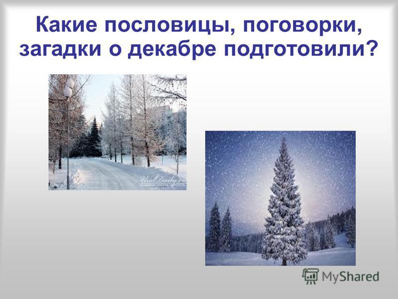 Какие пословицы, поговорки, загадки о декабре подготовили?