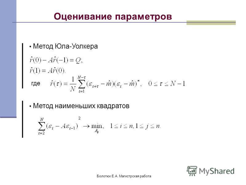 Болотюк Е.А. Магистрская работа Оценивание параметров Метод Юла-Уолкера где Метод наименьших квадратов