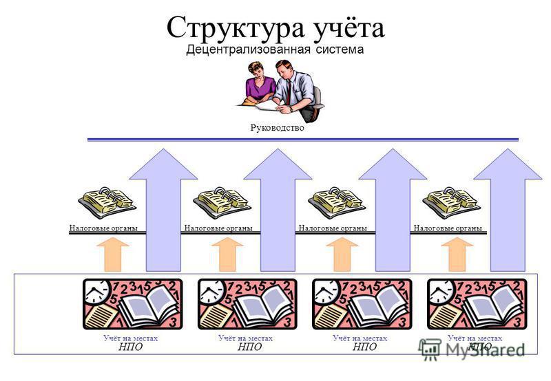 Структура учёта Децентрализованная система НПО Налоговые органы Руководство Учёт на местах