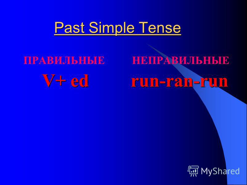Past Simple Tense ПРАВИЛЬНЫЕ НЕПРАВИЛЬНЫЕ V+ ed run-ran-run V+ ed run-ran-run