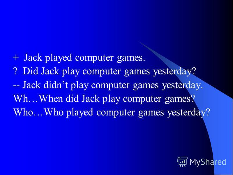 + Jack played computer games. ? Did Jack play computer games yesterday? -- Jack didnt play computer games yesterday. Wh…When did Jack play computer games? Who…Who played computer games yesterday?
